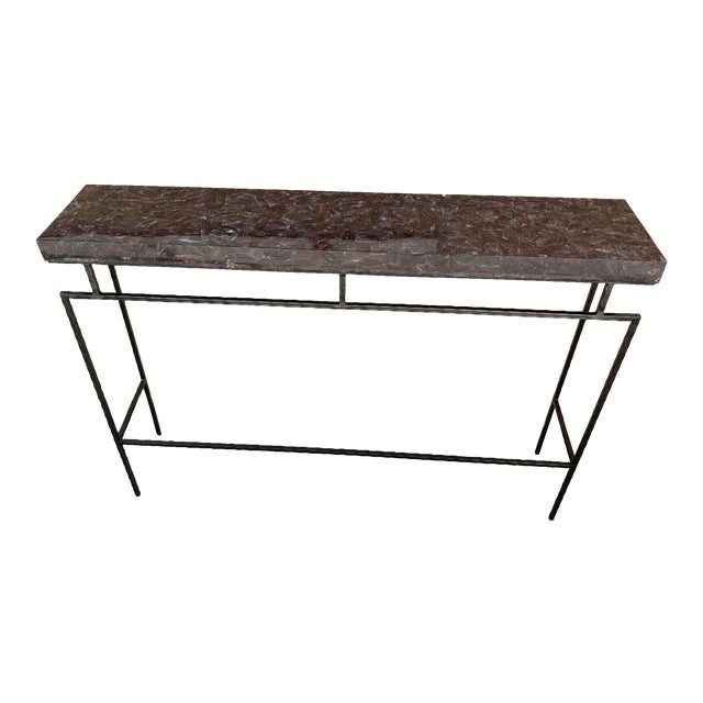 Contemporary Amethyst Penshell and Iron Console Table For Sale
