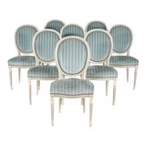 Image of Antique French Louis XVI Style Painted Side Chairs- Set of 8 For Sale