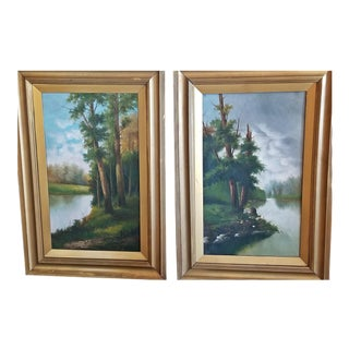 19c Pair of British Oils on Canvas of River and Forest Scenes For Sale