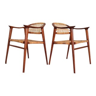 Pair of Bambi Chairs by Rolf Rastad & Adolf Relling for Gustav Bahus | Scandinavian Design | Teak and Cane Armchair