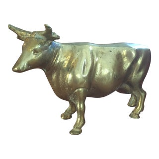 Mid Century Solid Brass Western Bull or Cow For Sale