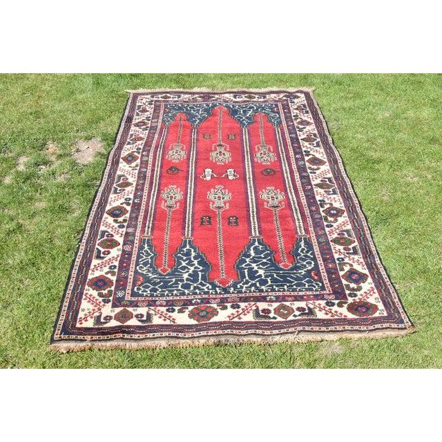 Turkish Vintage Oriental Design Red-Blue Color Carpet - 4x8.5 For Sale - Image 12 of 12