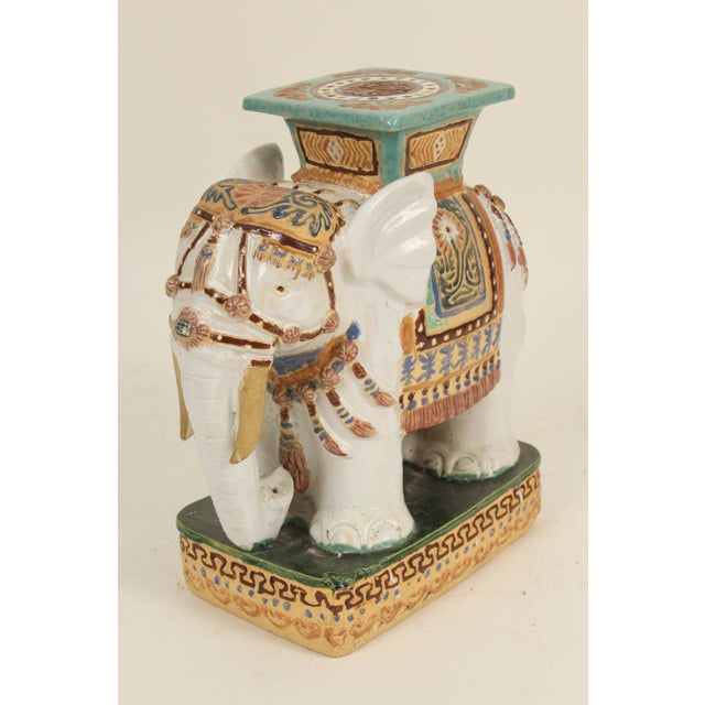 1980s 1980s Chinoiserie Polychrome Decorated Stoneware Elephant Form Garden Seats - a Pair For Sale - Image 5 of 11