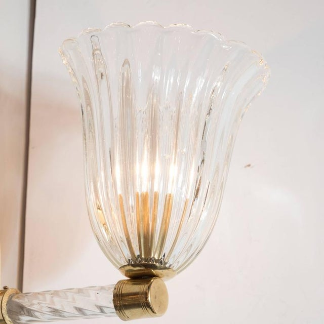 Metal Gorgeous Pair of Mid-Century Arm Sconces in Brass and Glass by Barovier e Toso For Sale - Image 7 of 8