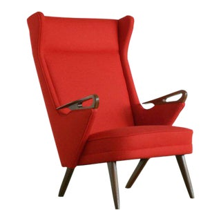 Danish Mid-Century Highback Lounge Chair With Teak Armrests and Ferrari Red Wool For Sale