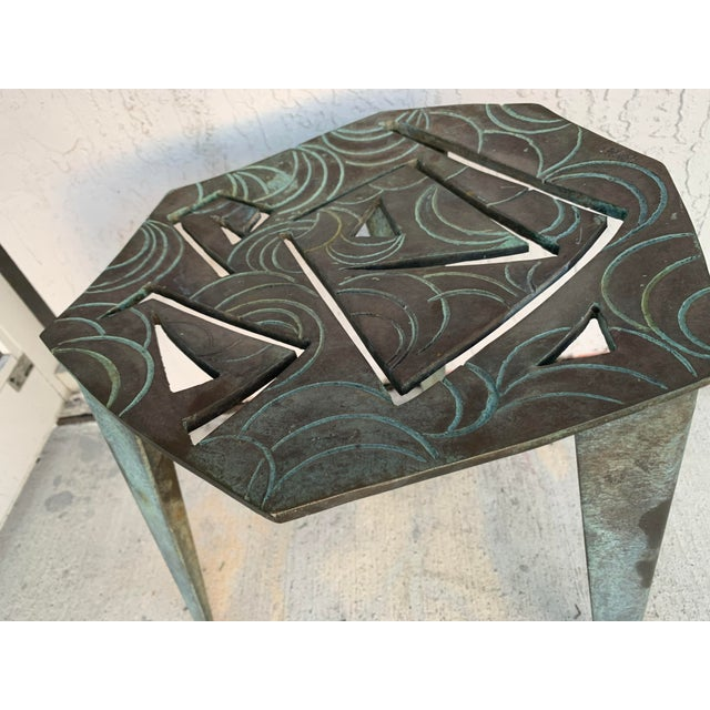 Abstract Artist Made Vintage Modernist Bronze Side Table For Sale - Image 3 of 7