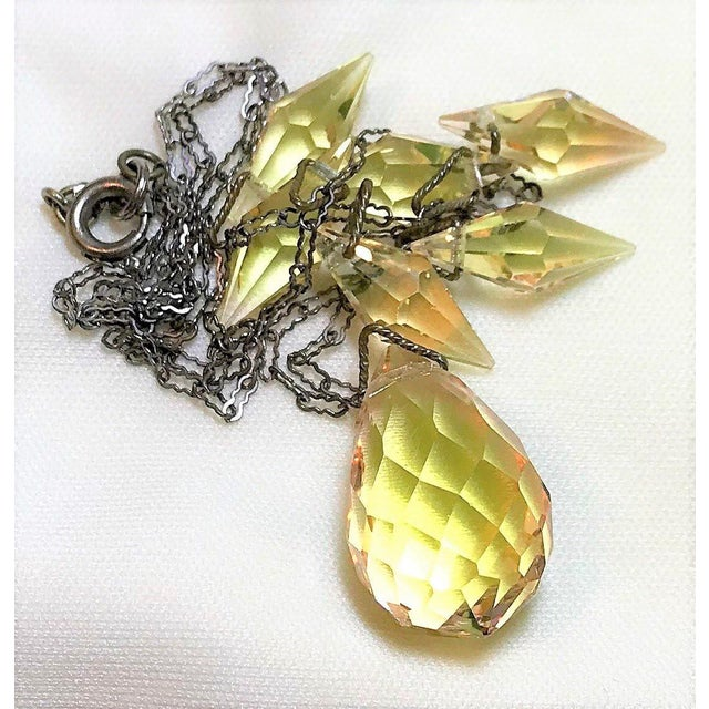 1920s Circa 1920s Czechoslovakian Yellow Faceted Drop Necklace For Sale - Image 5 of 8