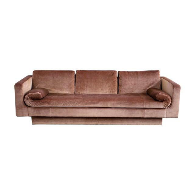 Vintage Baker Sofa in Blush Pink Velvet For Sale