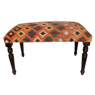 Dorathy Orange/Blue Handmade Kilim Upholstered Settee