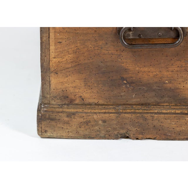 Rustic Chestnut Trunk With Over-Scale Iron Hinges, English Circa 1860. For Sale - Image 9 of 13