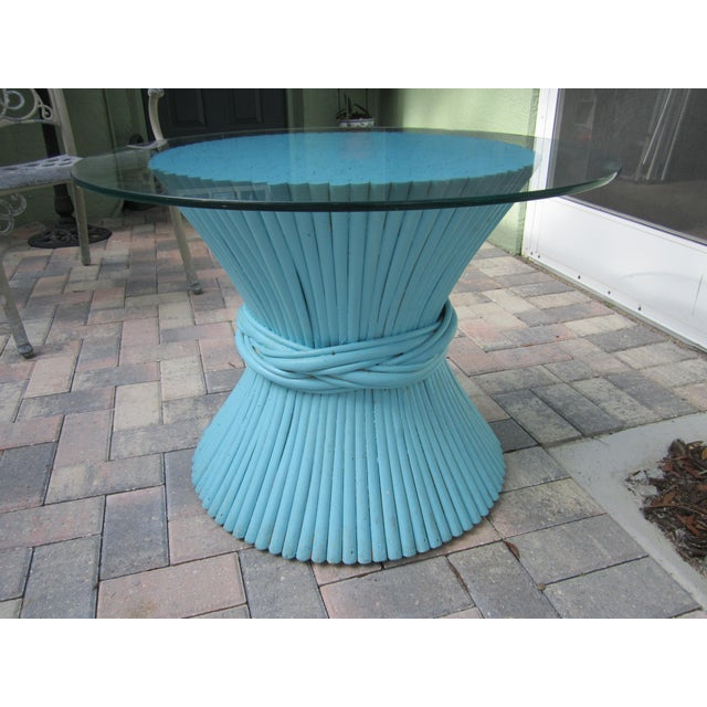 Vintage Sheaf of Wheat Blue Rattan Table Base - Image 9 of 11