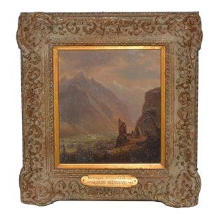 """Albert Bierstadt """"Valley of Meringen, Switzerland"""" Oil on Panel C.1858 For Sale"""