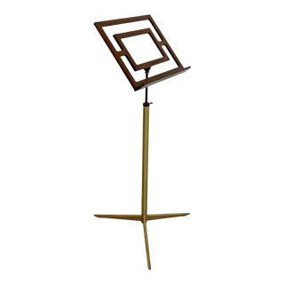 Mid-Century Modern Italian Wood & Brass Music Art Pedestal Display Stand C. 1960s For Sale
