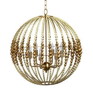 Wooden Bead Globe Chandelier For Sale