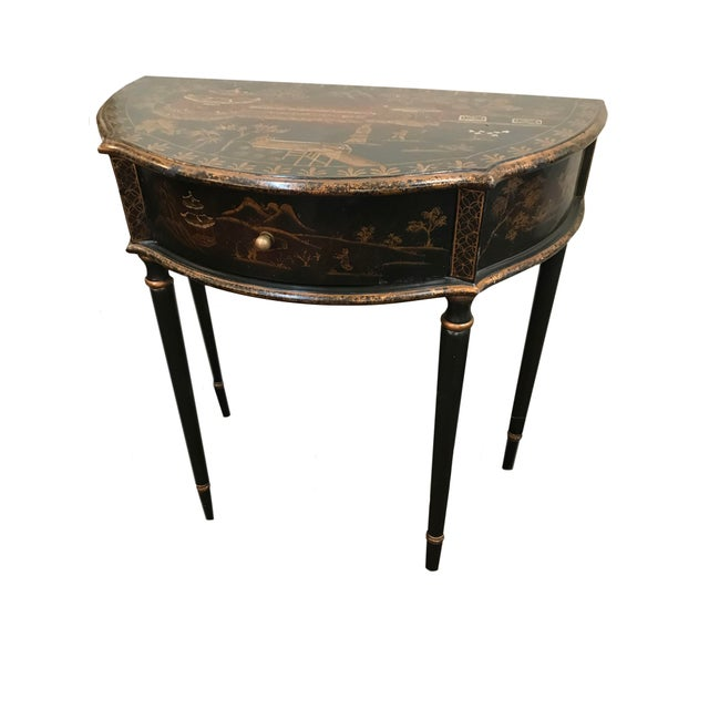 Late 20th Century Chinoiserie Demi Lune Table With Drawer For Sale - Image 5 of 5