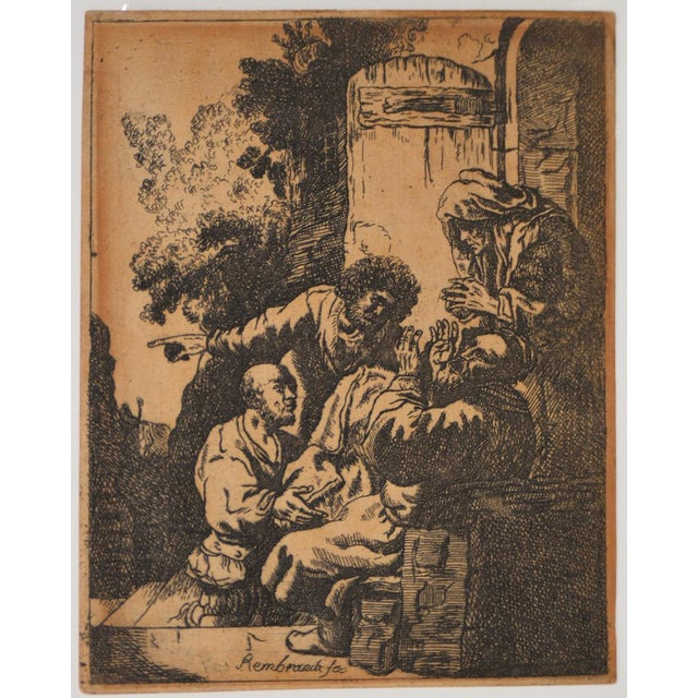 """""""Joseph's Coat Brought to Jacob"""" After Rembrandt Etching in Reverse 18th to 19th c. Antique etching on fine laid paper of..."""