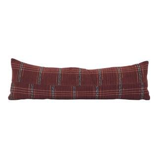 Japanese Maroon Stripe Sakiori Pillow For Sale