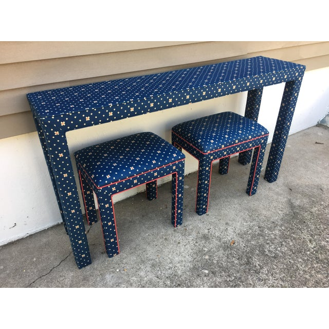 1970s Mediterranean Blue Upholstered Parsons Table With Matching Benches - 3 Pieces For Sale - Image 12 of 12
