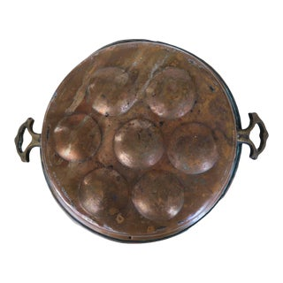 Antique Copper Round Escargot Pan With Double Brass Handles For Sale