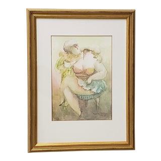 "Norha Beltran (Bolivia, 20th C.) ""Two Women"" Original Watercolor C.1980s For Sale"