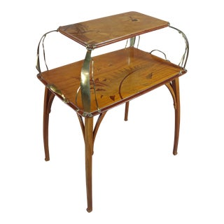 19th Century Art Nouveau Léon Benouville Inlaid Mahogany & Brass Etagere Table For Sale