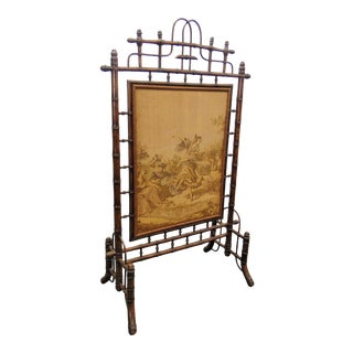 Victorian Faux Bamboo Tapestry Firescreen For Sale