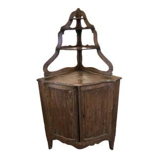 Antique Rustic 19th Century Italian Corner Cabinet For Sale