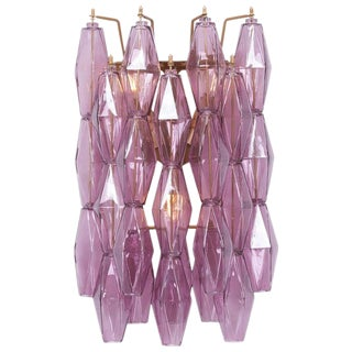 1 of 4 Amethyst Polyhedral Glass Sconces or Wall Lamps in the Manner of Venini For Sale