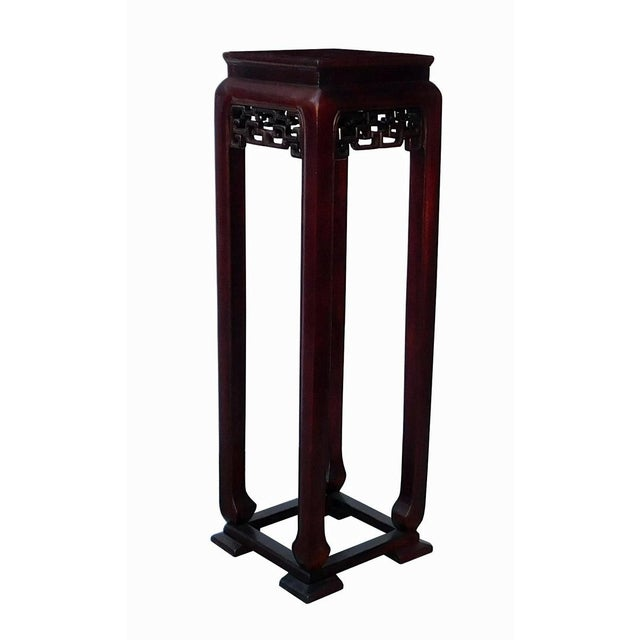 Oriental Plant Pedestal in Red Brown Stain - Image 2 of 5