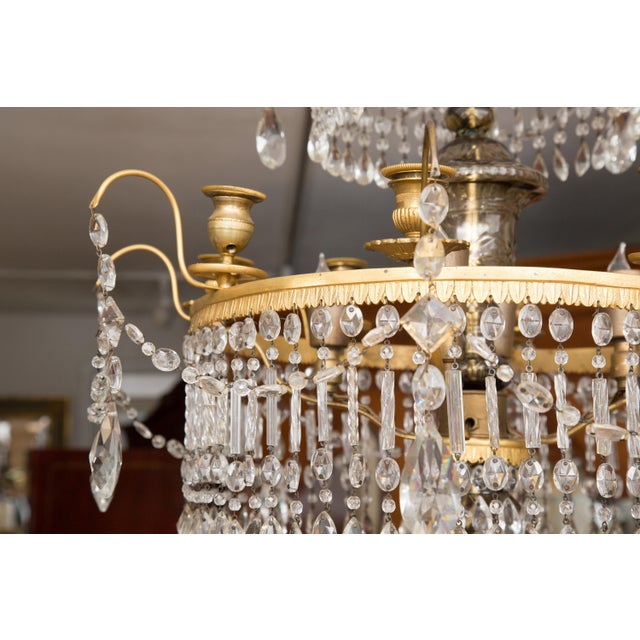 Gold 19th Century Gilt Metal and Crystal Baltic Chandelier For Sale - Image 8 of 13