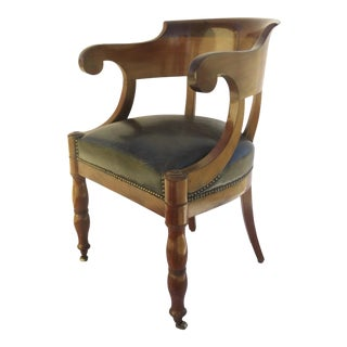 French Mahogany Empire Arm Chair Upholstered Seat For Sale