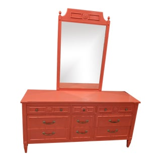Thomasville Coral Painted Dresser and Mirror For Sale