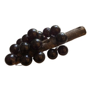 Vintage Glass Grapes Wired Around Wooden Stem For Sale