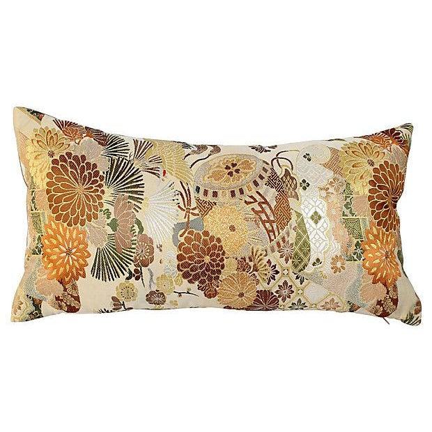 Japanese Obi Chrysanthemum Pillow - Image 1 of 2