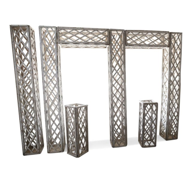 White Vintage French Painted Trellis For Sale - Image 8 of 13