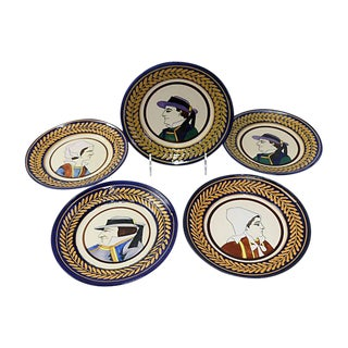 Vintage French Faience Quimper Plates - Set of 5