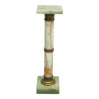 Bronze Mounted Green Oynx Pedestal For Sale