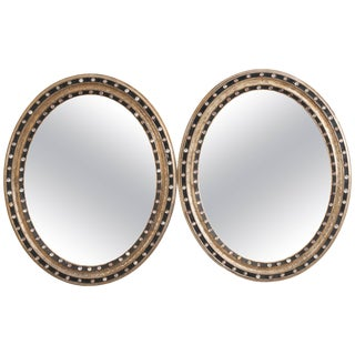 19th Century French Ebonized and Painted Oval Mirrors - a Pair For Sale