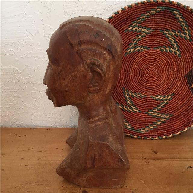 Vintage Hand Carved Female Bust Wood Sculpture - Image 4 of 9