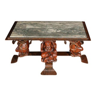 French Coffee Table With Marble Top Attributed to Jean-Maurice Rothschild For Sale