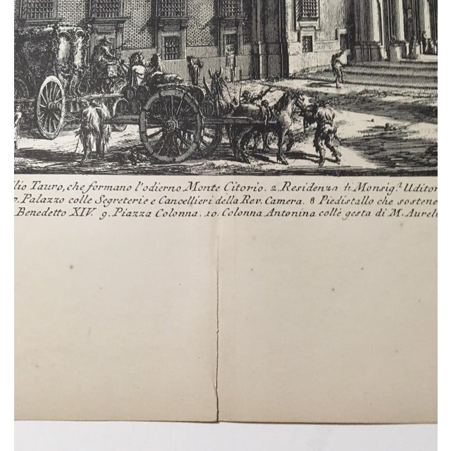 "Grand Tour ""Veduta Della Gran Curia Innocenziana"" Antique Architectural Lithograph After Piranesi For Sale - Image 3 of 7"