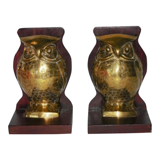 Mid-Century Brass and Rosewood Owl Bookends - Pair For Sale