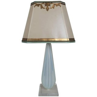Italian Murano Glass Aqua Blue Lamp With Custom Parchment Shade