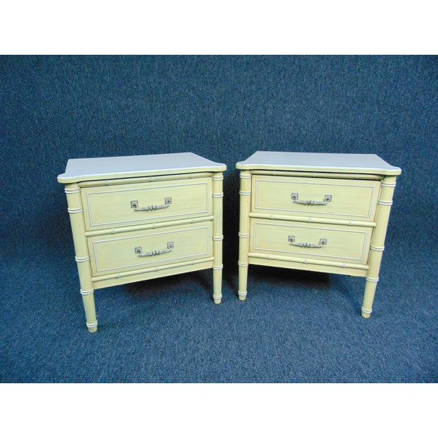 Hollywood Regency Style Cream & Yellow Faux Bamboo Nightstands - a Pair For Sale - Image 10 of 10