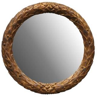 Garland Mirror With Gilded Wooden Frame and Foliage Motif For Sale