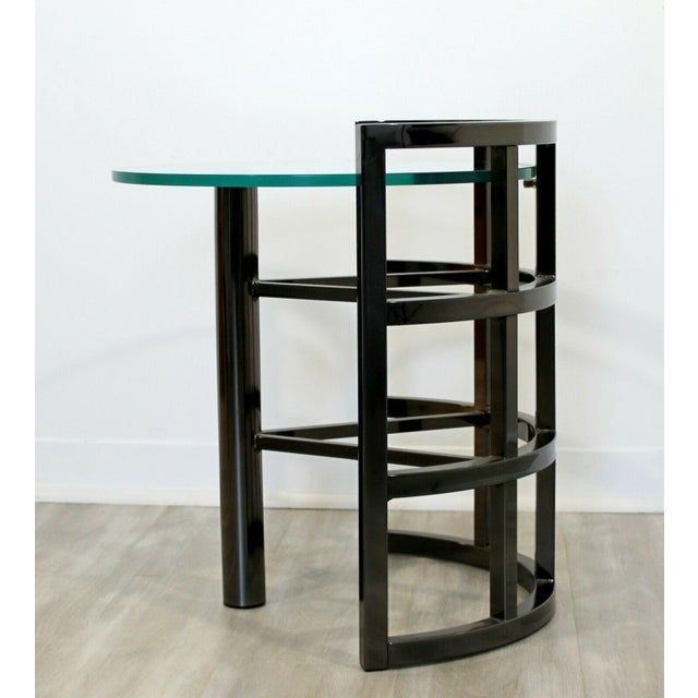Transparent Contemporary Modern Brueton Round Gunmetal Glass Side End Table 80s Asymmetrical For Sale - Image 8 of 12