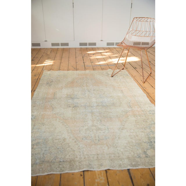 """Apricot Vintage Distressed Oushak Rug - 4'4"""" X 6'9"""" For Sale - Image 8 of 10"""