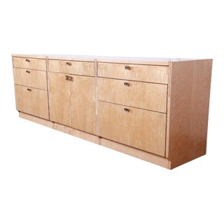 Pierre Paulin for Baker Furniture Bird's-Eye Maple and Walnut Inlay Modern Art Deco Credenza or Bar Cabinet, Newly Restored For Sale