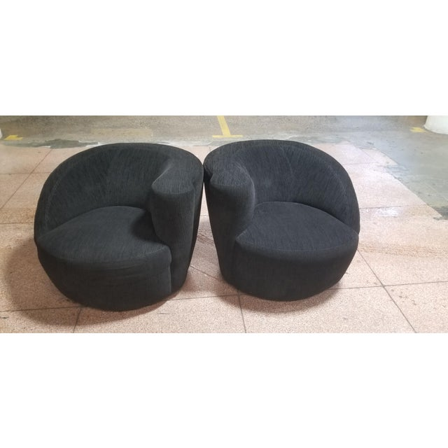 Black Chenille Vladimir Kagan Nautilus Swivels/ Pair For Sale In New York - Image 6 of 6