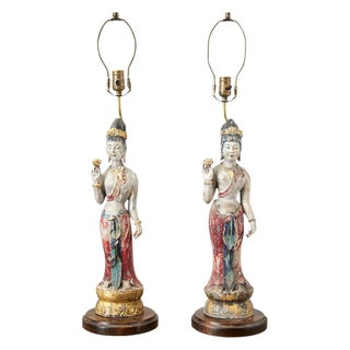 Pair of Chinese Polychrome Quan Yin Deity Table Lamps For Sale